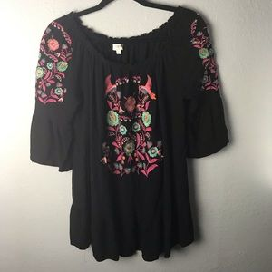 Umgee embroidered bright floral boho top SZ Large